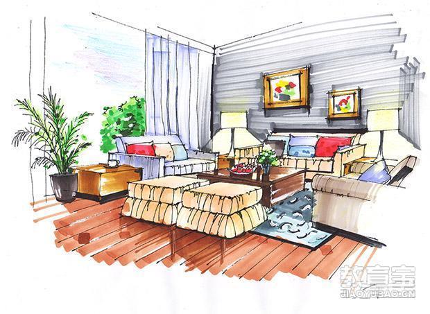 家居 简笔画 起居室 设计 手绘 线稿 装修 620_453