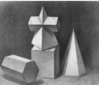 1,石膏几何体临摹与写生,透视及构图,静物临摹与写生及结构素描