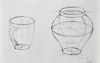 《结构素描杯子,罐子》