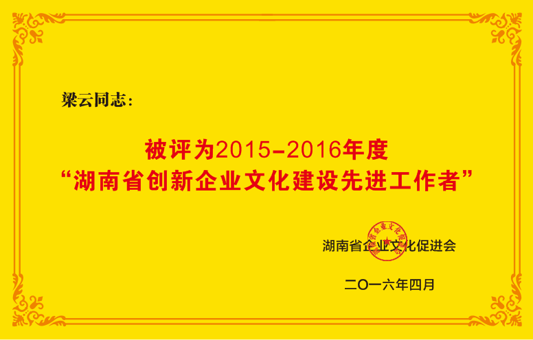 2015-2016年度湖南省创新企业文化建设先进工作者