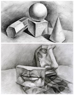 素描几何石膏形体   ☆通过几何石膏体训练可以训练观察能力,整体造型
